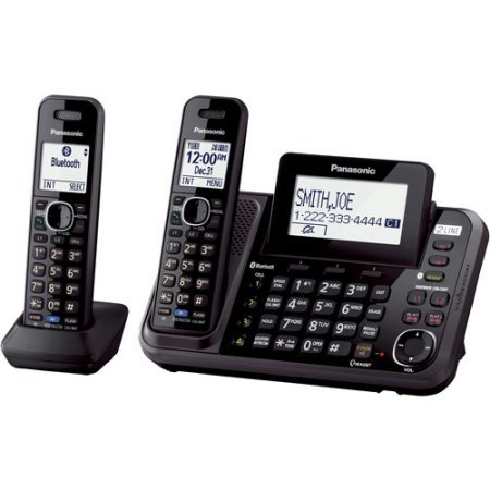 Panasonic KX-TG9542B DECT 6.0 Plus 2-Line Link2Cell Bluetooth-Enabled Answering System with Base Keypad and 2 Cordless Handsets, Black
