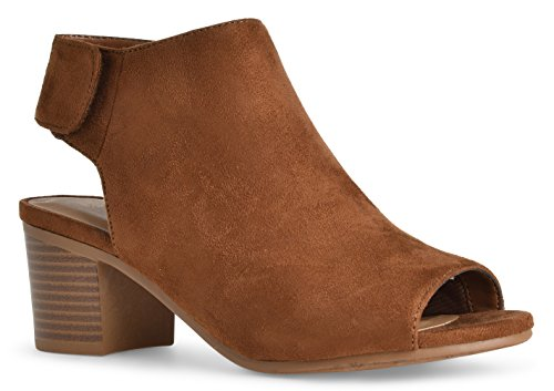 Women's Andrea Open Toe Cut Out Velcro Low Stacked Heel Casua Ankle Bootieby LUSTHAVE Congac Suede 9