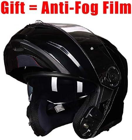 FhqKing DOT genehmigt Moto Helm Modular Klapphelm Doppelmasken und Removable Futter (Bright Black 55-63CM)