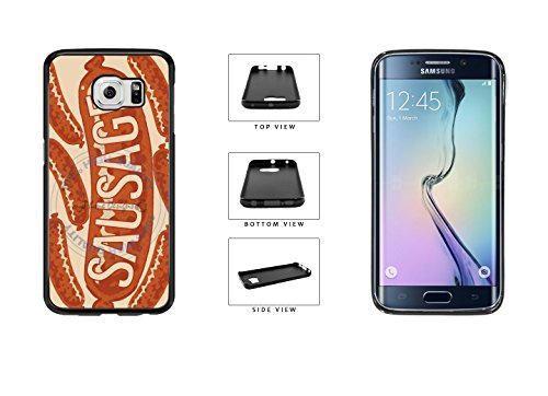 Funny Hot Dog Sausage TPU Rubber SILICONE Phone Case Back Cover For Samsung Galaxy S6 Edge G925 comes with Security Tag and MyPhone Designs(TM) Cleaning Cloth