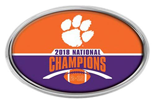 Wincraft NCAA Clemson Tigers Football 2018 National Champions Auto Emblem Decal, Chrome Metal with Domed Graphics