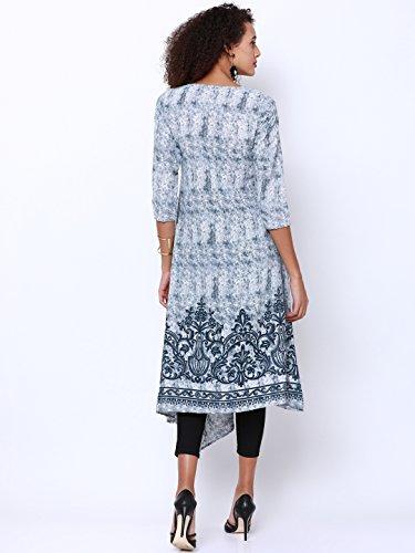 Rêve Des Femmes De La Mode Ange Robe Gris Et Blanc Imprimé Kurti Kurta Une Ligne