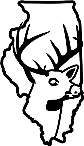 Illinois State Deer Buck Hunting Antlers Die Cut Vinyl Decal Sticker For Ipad Laptop Helmet Wall Car Truck Window Bumper [ Size: 20 inch/50 cm Tall ] [ Color: Gloss BLACK ]
