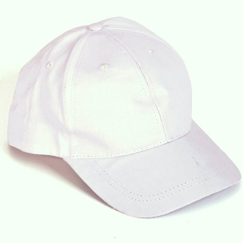 Cap White Ball (Plain White Baseball Cap Low Crown Hat)