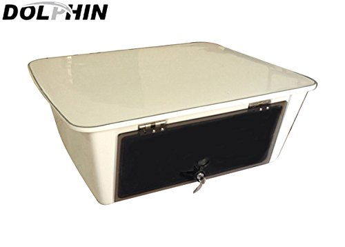 Dolphin T-Top Overhead Marine Electronics E Box ✮ Fishing Boat Tower Center Console Ebox, Fiberglass, Locking Smoked Glass, Stereo Radio Head Storage, Water Resistant, 25
