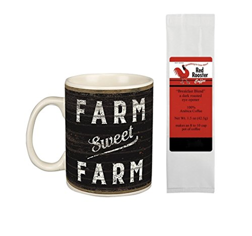 Farm Sweet Farm Life is Better on the Farm Mug and Red Rooster Coffee Gift Set Bundle (2 Items)