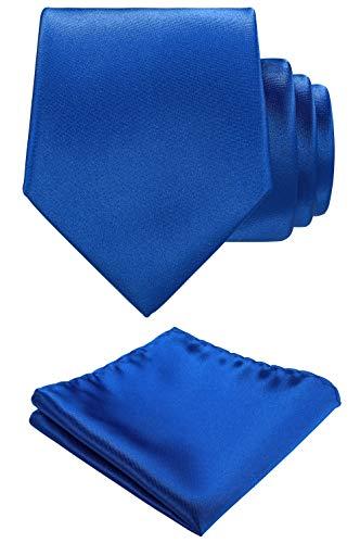 Solid color Neck tie.Pocket Square,Gift Box set. (Royal Blue)