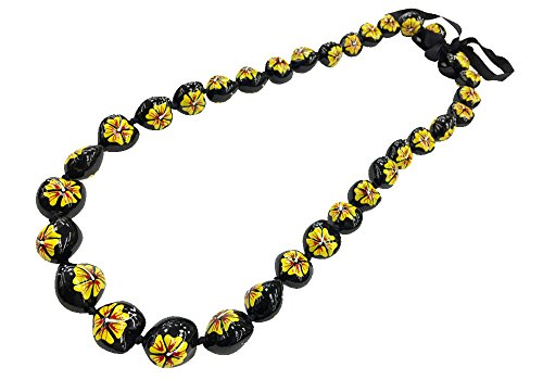 Painted Kukui Nuts - DK Hawaiian Collections Style Kukui Nut Lei Hibiscus Flower Hand Painted 33 Nuts Necklace (L/Yellow)