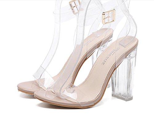 YCMDM Donne nuovo alto con tacco trasparente VENDITA CALDA scarpe rosa nero Albicocca 39 36 35 38 37 40 , apricot , 40