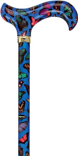Blue Skies Butterfly Designer Adjustable Derby Walking Cane with Engraved Collar