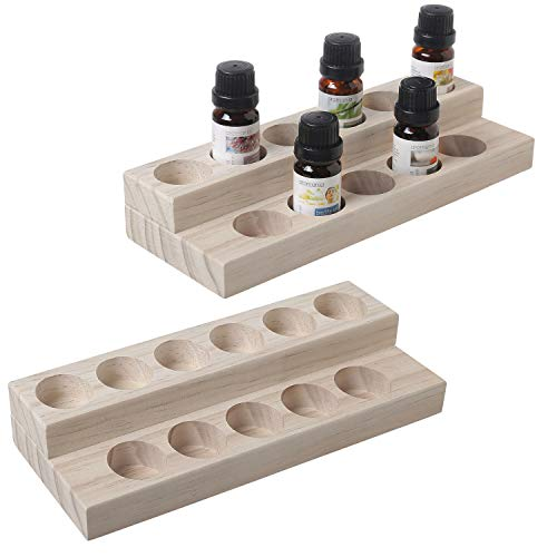MyGift Set of 2 Natural Unfinished Wood 11-Bottle Essential Oil Display Stands ()