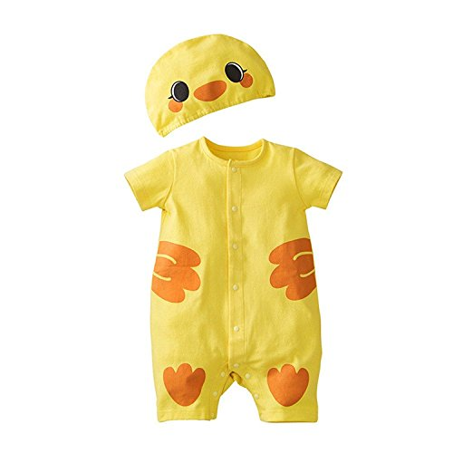 Jojobaby Baby Unisex 2Pcs Baby Clothes Fruit / Animal Bodysuit With Hats (90(9-12 Months), Duck) For Sale