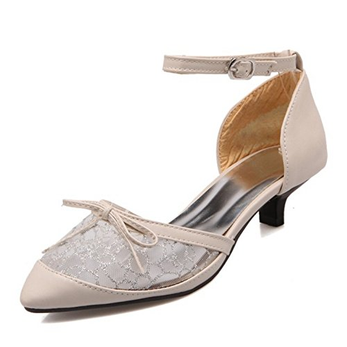 SJJH Lace Materail Women Sandals with Kitten Heel England Countryside Shoes with Plus Beige a3eQT2kP