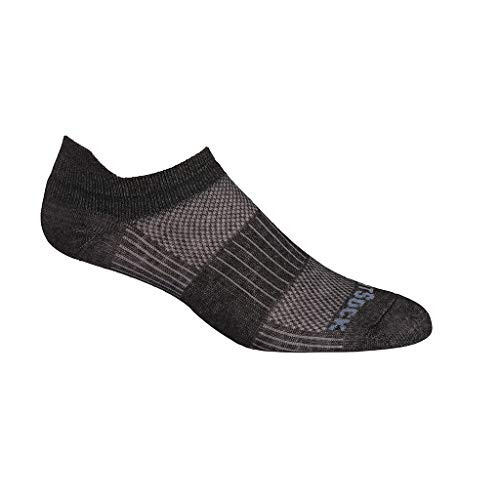 (Wrightsock Coolmesh II Tab Running Socks - 2 Pack, Black Marl, Large)