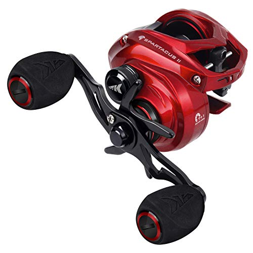KastKing Spartacus I & II Baitcasting Fishing Reel Ultra Smooth 17.6 LB Carbon Fiber Drag, 6.3:1/7.2:1 Gear Ratio, Palm Perfect Lower Profile Design