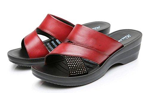 2017nuevas sandalias plantillas douces piel zapatos inclinadas con las pantuflas glissantes de gran tamaño 2