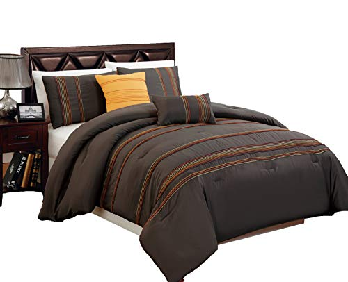 - Legacy Decor Beautiful 5 PC Brown with Marigold, Orange and Yellow Overlock Stitch, King Size Comforter Bedding Set