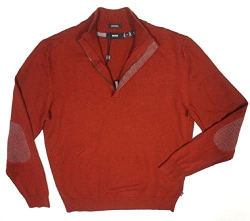 HUGO BOSS VIRGIN WOOL COTTON BLEND ENRICCO LIGHT WEIGHT HALF ZIP SWEATER (LARGE, BRICK RED) (Virgin Wool Sweater)