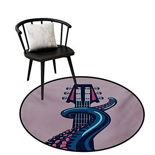 Indoor and Outdoor Round Rug Octopus Soft to The Touch Sea Animal with Guitar Riff Musical Instrument Rock and Roll Modern Artwork Print,D24(60cm),Lilac Blue (Best Riffs To Learn)