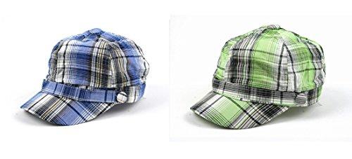 Pop Unisex 3 Button Plaid Cadet Style Cap Hat (2 pcs Blue & Green)