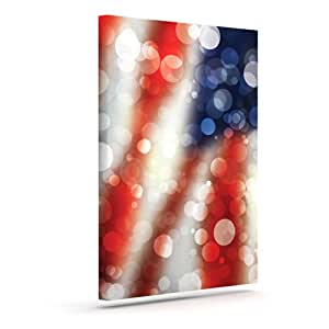 "Kess InHouse KESS Original ""Patriot"" America Bokeh Outdoor Canvas Wall Art, 16 by 20-Inch"