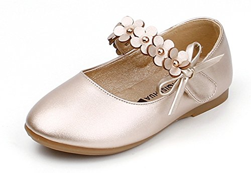Femizee Toddler Girls Flower Mary Jane Ballet Flats Shoes with hook and loop Strap(Toddler/Little Kid),Golden,1527 CN (Toddler Flower Girl Shoes)