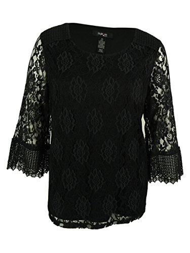 Style & Co. Women's 3/4 Sleeve Lace Top (3X, Deep Black)