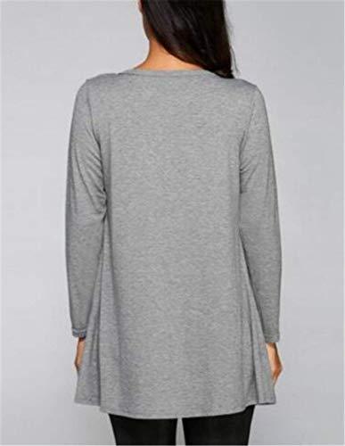 Shirt Fashion Tasche Manica Classiche Cardigan Primaverile Comodo Autunno Tops Lunga Donne Colori Cappotto Solidi Donna Sciolto Grey Eleganti Giacca Casual Con XgqU51n