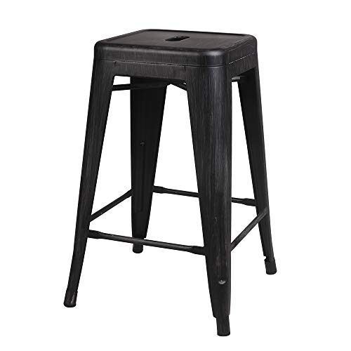 Cheap GIA M01-24ANTIBK_1 Barstools 24″ Metal Stool, 1-Pack, Antique Black, Seat