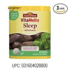 Nature Made Melatonin, Sleep, Tablets, Chocolate Mint 60 Tablets, Pack of 3