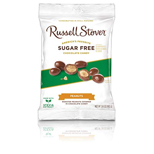 Sugar Free Chocolate Peanuts - Russell Stover Sugar Free Chocolate Covered Peanuts, 3.6 oz. Bag
