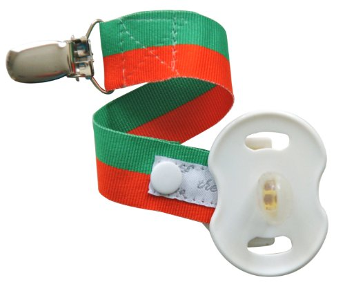 UPC 783583588898, Team Spirit! Green & Orange Stripe Binkmeister Pacifier Clip W/snap Closure - Ready to Gift in an Adorable Clear Box - Perfect for Your Little Fan