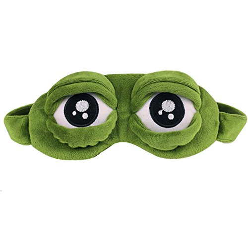 Aisa 3D Frog Cute Cartoon Design Sleeping Eye Blinder Travel Office Snap Soft Plush Eye Mask ()