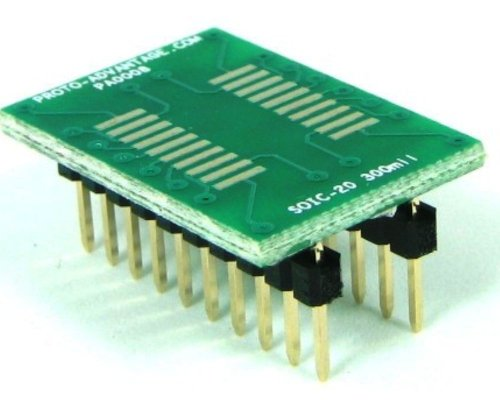 Proto-Advantage SOIC-20 to DIP-20 SMT Adapter (1.27 mm pitch, 300 mil body) ()
