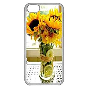 Iphone 5c Case,Hard PC Iphone 5c Protective Case for Ultimate Protect iphone 5c with Sunflower arrangement with lemon slices in the clear vase