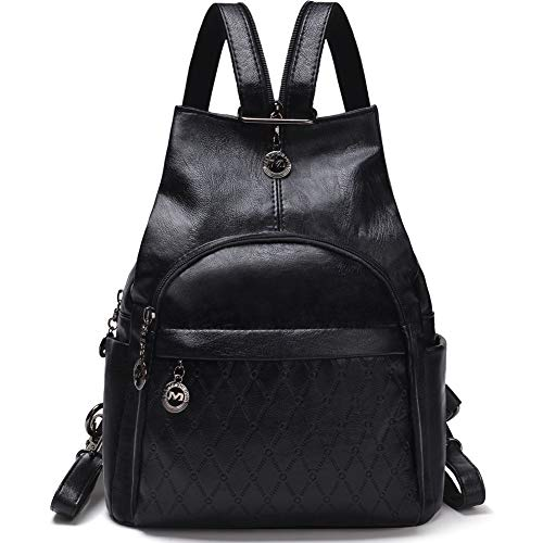 Small Leather Convertible Backpack Sling Purse Shoulder Bag for Women (Black1) by Vintga (Image #7)