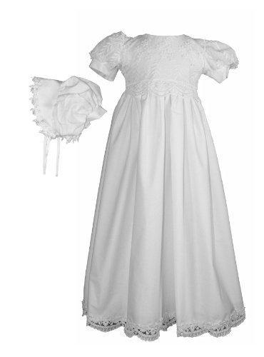White Daisy Embroidered Cotton Christening Baptism Gown - Size XS (0-3 Month)