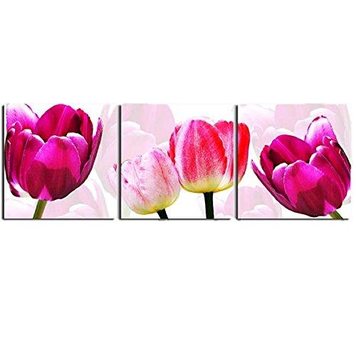 壁掛け アートパネル 【AP008 ピンク チューリップ 60×60㎝×3パネルセット】厚地25㎜キャンバス 印刷布製 キャンバスアート 壁飾り B07DRDWN67 10848 25mm厚地キャンバス|60×60㎝ 60×60㎝ 25mm厚地キャンバス