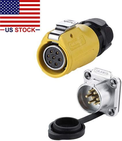 Outdoor Waterproof IP67 Easy Plug and Pull Female Plug /& Male Panel Mount Receptacles Socket Jack AC DC CNLINKO 7 Pin Power Industrial Circular Connector