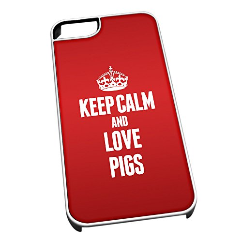 Bianco cover per iPhone 5/5S 2466 Red Keep Calm and Love Pigs