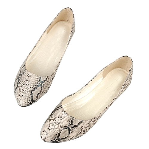 Da Donna A Punta In Pelle Con Stampa Serpente Slip On Ballet Flat Albicocca