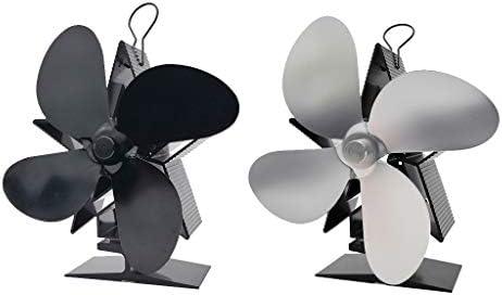 Fenteer 2ピース/個ログバーニング/暖炉用シルバー/ブラック用の火力ストーブ暖炉ファン