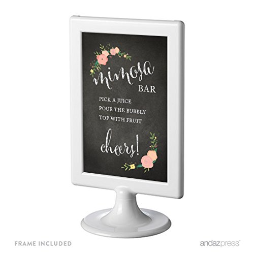Andaz Press Framed Wedding Party Signs, Chalkboard Floral Roses Print, 4x6-inch, Build Your Own Mimosa Sign Pick a Juice, Pour the Bubbly Champagne, Top with Fruit Cheers! 1-Pack