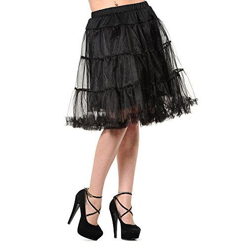 [Banned Women's Mid Petticoat - Medium, Black] (Swing Jive Costumes)