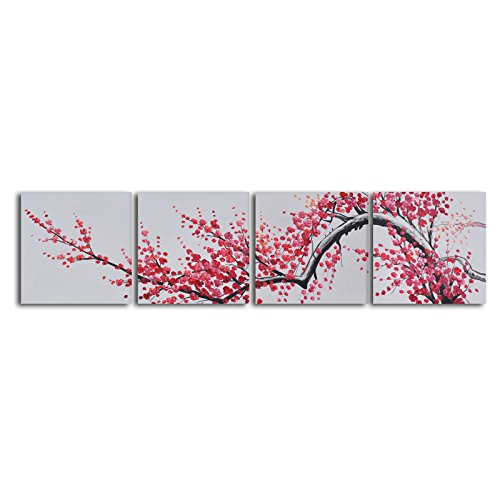 TJie Art Hand Painted Mordern Oil Paintings,Extension of Asian Branch 4-Piece Oil Painted Wall Art Set,Modern painting inspired by Japanese art, Handcrafted by artist using oil paints on canvas, Gallery wrapped/stretched over wood frames