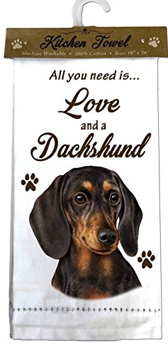 E&S Pets 700-14 Dachshund, black Kitchen Towels, Off- Off-white