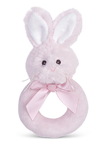 Bearington Baby Lil' Bunny Pink Plush Stuffed Animal Soft Ring Rattle, 5.5