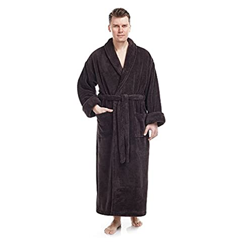 - 41P 2BXYo hQL - Arus Men's Shawl Collar Full Length Tall Long Fleece Robe, Turkish Bathrobe