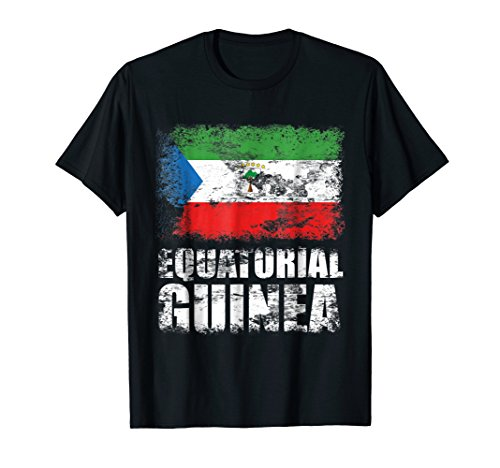 Mens Equatorial Guinea Flag T-Shirt | Equatoguinean Flag Tee Medium Black