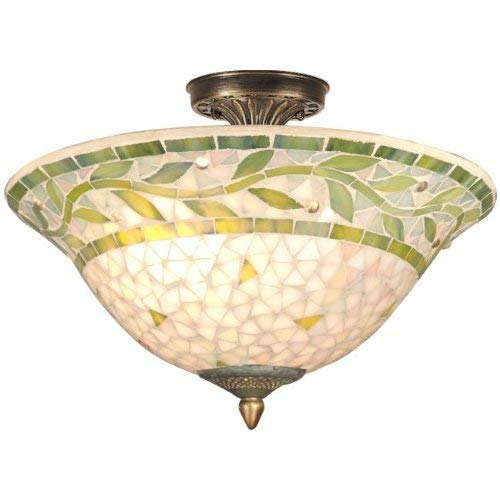 Dale Tiffany TH70655 Mosaic Semi-Flush Mount Light, Antique Brass and Mosaic Shade ()